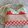 red roses and gingham bag